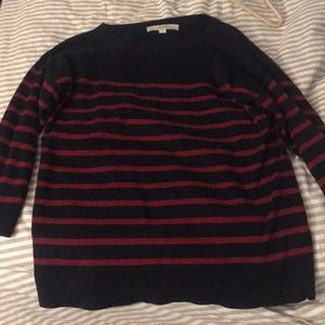 Blue and red striped sweater from Loft